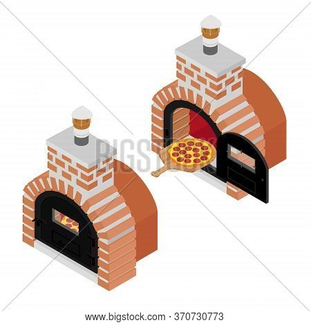 Italian Pizza On Wooden Board Cooked In Oven. Salami Pizza For Restaurants, Pizzerias
