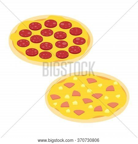 Set Of Pizzas Salami And Hawaiian Pizza Isometric View Isolated On White Background