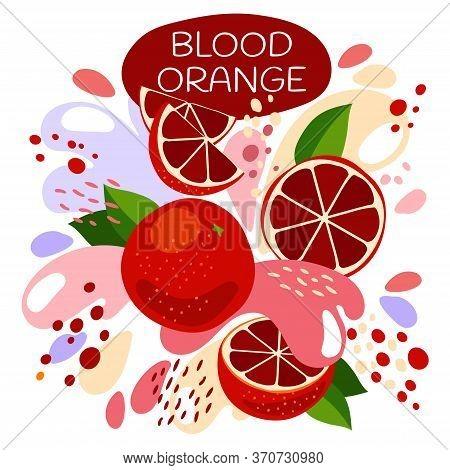 Vector Illustration Of An Organic Fruit Drink. Ripe Red Blood Orange Fruits With Splash Of Bright Fr