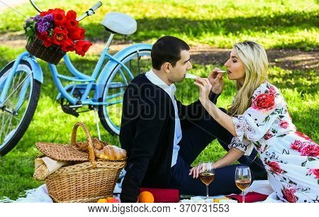 Give Uncommon, Unique Gifts Spontaneously. Enjoying Their Perfect Date. Happy Loving Couple Relaxing