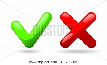 Test Check Mark Buttons Icon. Tick And Cross Vote Symbol. Green - Yes, Red - No. Template Design For