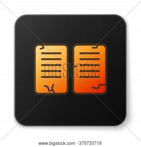 Orange Glowing Neon The Commandments Icon Isolated On White Background. Gods Law Concept. Black Squa