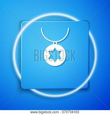 White Star Of David Necklace On Chain Icon Isolated On Blue Background. Jewish Religion. Symbol Of I