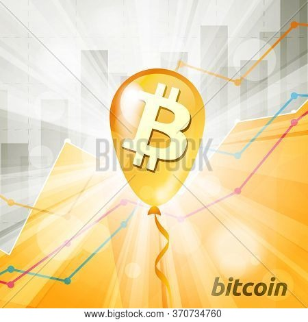Golden Bitcoin Cryptocurrency Baloon In The Bright Rays On Backg