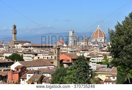 Florence Cityscape From Park Close To Piazzale Micgelangelo. Firenze, Tuscany, Italy.