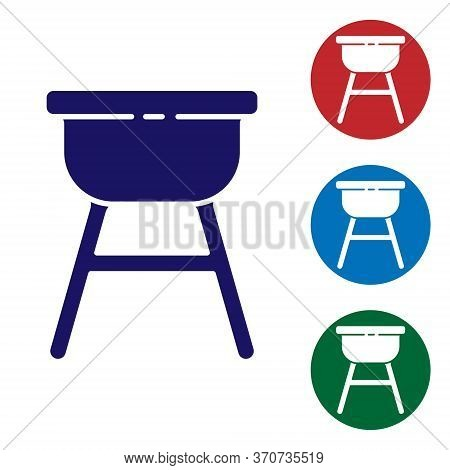 Blue Barbecue Grill Icon Isolated On White Background. Bbq Grill Party. Set Icons In Color Square Bu