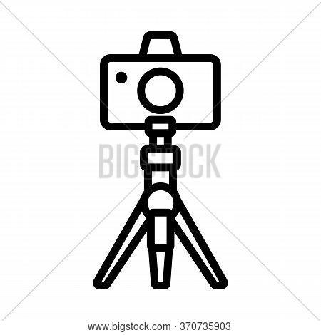 Photo Camera On Tripod Icon Vector. Photo Camera On Tripod Sign. Isolated Contour Symbol Illustratio