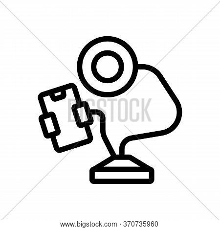 Equipment With Phone Holder And Lamp Icon Vector. Equipment With Phone Holder And Lamp Sign. Isolate