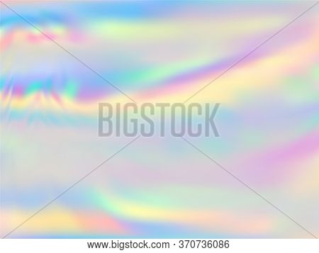 Hologram Effect Glitch Gradient Vector Design. Luminous Pastel Rainbow Unicorn Background. Polar Lig