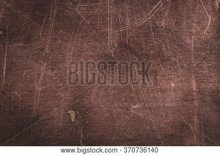 Scratched Dirty Dusty Copper Plate Texture, Old Metal Background. Cloudy And Scratchy Copper Metal T