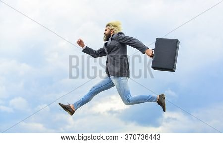Energetic Entrepreneur. Business Man Formal Suit Carries Briefcase. Illegal Deal Business. Feel Impa