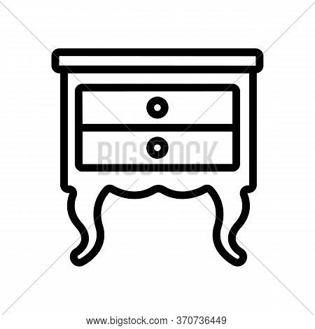 Nightstand Old-fashioned Style Icon Vector. Nightstand Old-fashioned Style Sign. Isolated Contour Sy