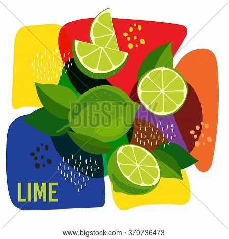 Vector Illustration Of Ripe Lime Fruits On Abstract Background. Eco Concept For Natural Lime Fruit L