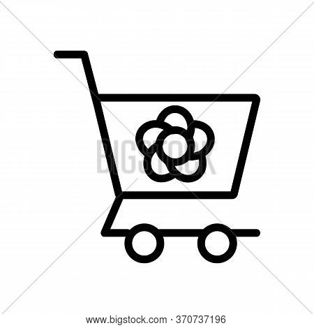 Flower Shop Carriage Cart Icon Vector. Flower Shop Carriage Cart Sign. Isolated Contour Symbol Illus
