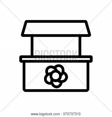 Flower Shop Counter Icon Vector. Flower Shop Counter Sign. Isolated Contour Symbol Illustration