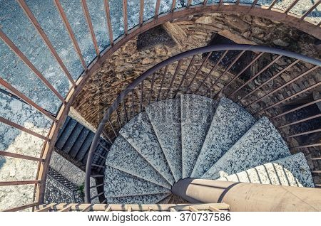 Desenzano Del Garda, Italy, September 11, 2019: Spiral Staircase With Stairs Of Old Medieval Castle