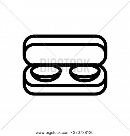 Contact Lens In Storaging Box Icon Vector. Contact Lens In Storaging Box Sign. Isolated Contour Symb