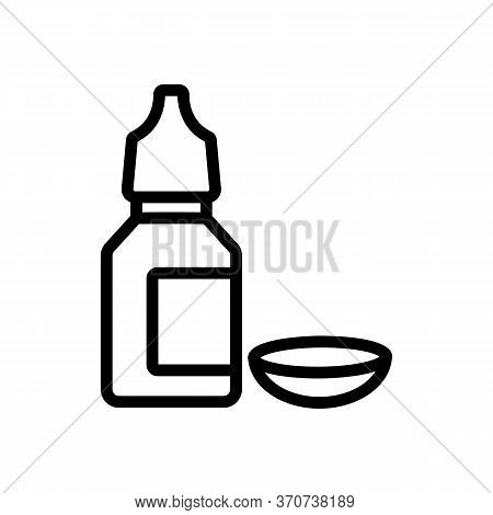 Contact Lens And Eye Drop Bottle Icon Vector. Contact Lens And Eye Drop Bottle Sign. Isolated Contou