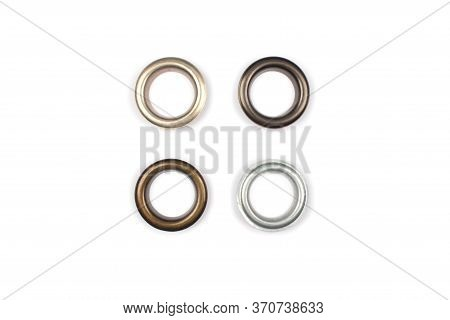Four Brass Multicoloured Metal Eyelets Or Rivets - Curtains Rings For Fastening Fabric To The Cornic