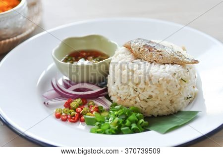 Fried Rice Or Stir-fried Rice With Fish, Rice Topped With Mackerel