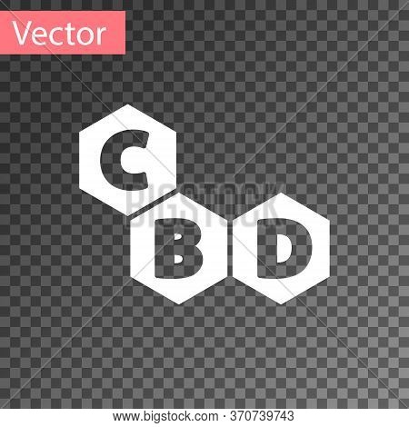 White Cannabis Molecule Icon Isolated On Transparent Background. Cannabidiol Molecular Structures, T