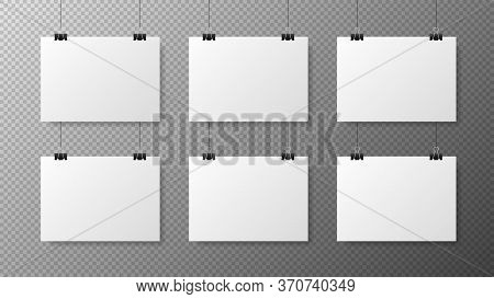 Big Set Blank White Gorizontal Poster Template On Transparent With Gradient Background. Affiche, Pap