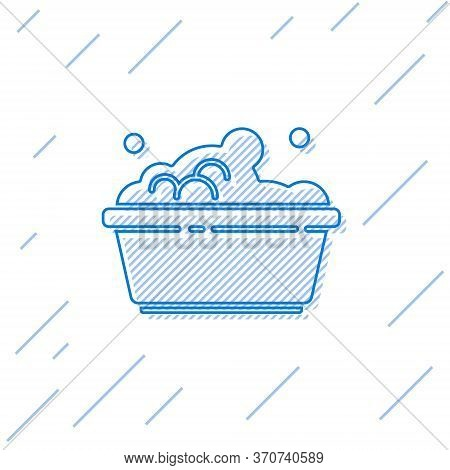 Blue Line Plastic Basin With Soap Suds Icon Isolated On White Background. Bowl With Water. Washing C