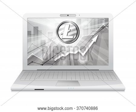 Laptop With Litecoin Cryptocurrency Symbol In The Bright Rays On