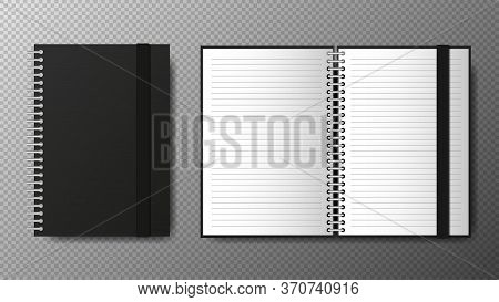 Realistic Blank Black Open And Closed Of Spiral Copybook Template With Elastic Band And Bookmark On