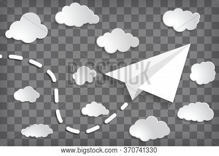 White Paper Plane With Clouds On The Chequered Background