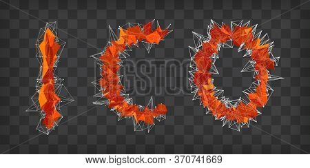 Abstract Vector Red Modern Triangular Emblem Of Ico On A Chequer