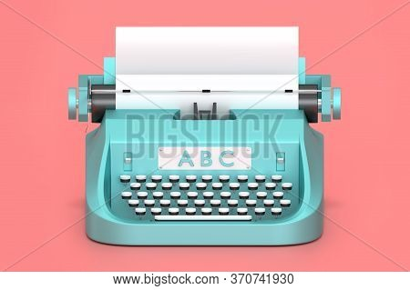 3d Render Typewriter With Paper For Writing Books. Isolated Concept Classic Technology For Writer An