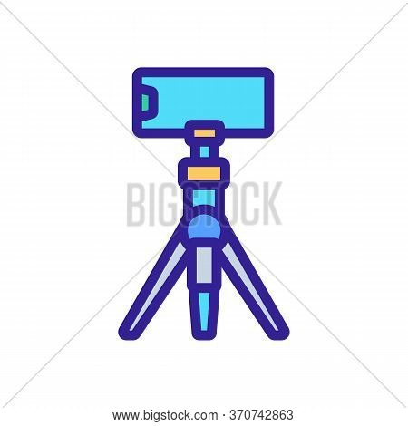 Mobile Phone On Tripod Icon Vector. Mobile Phone On Tripod Sign. Isolated Color Symbol Illustration