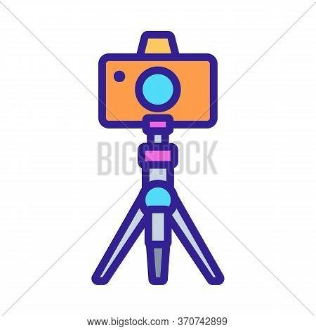 Photo Camera On Tripod Icon Vector. Photo Camera On Tripod Sign. Isolated Color Symbol Illustration