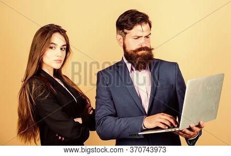 Discussing Progress. Man Bearded Manager Show Financial Report Laptop. Woman And Guy Colleague Worki