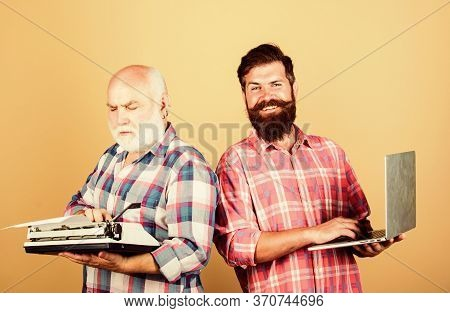 Digital Technologies. Bearded Men. Vintage Typewriter. Technology Battle. Modern Life. Father And So