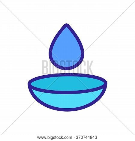 Contact Lens And Liquid Drop Icon Vector. Contact Lens And Liquid Drop Sign. Isolated Color Symbol I
