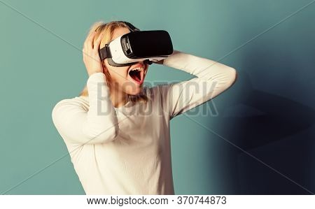 Funny Woman Experiencing 3d Gadget Technology - Close Up. Woman Enjoying Cyber Fun Experience In Vr.