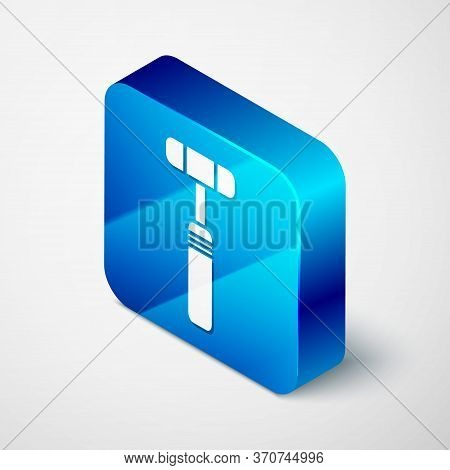 Isometric Neurology Reflex Hammer Icon Isolated On Grey Background. Blue Square Button. Vector Illus