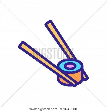 Chopstick With Sushi Roll Icon Vector. Chopstick With Sushi Roll Sign. Isolated Color Symbol Illustr