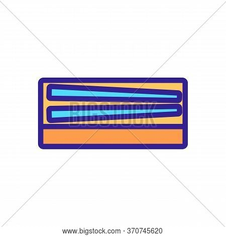 Chopstick In Box Icon Vector. Chopstick In Box Sign. Isolated Color Symbol Illustration