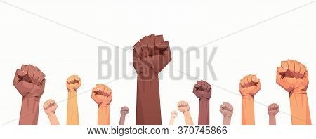 Black Lives Matter Raised Up Mix Race Fists Awareness Campaign Against Racial Discrimination Of Dark