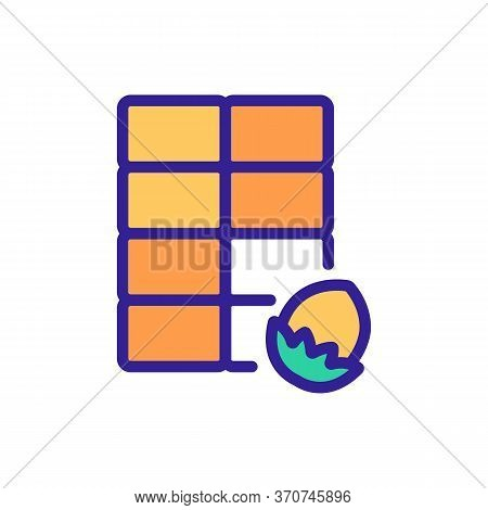 Chocolate With Hazelnut Nut Icon Vector. Chocolate With Hazelnut Nut Sign. Isolated Color Symbol Ill