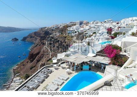 Oia Santorini Greece 15 September 2017, Luxury Hotels With Infinity Pool At The Greek Island Santori