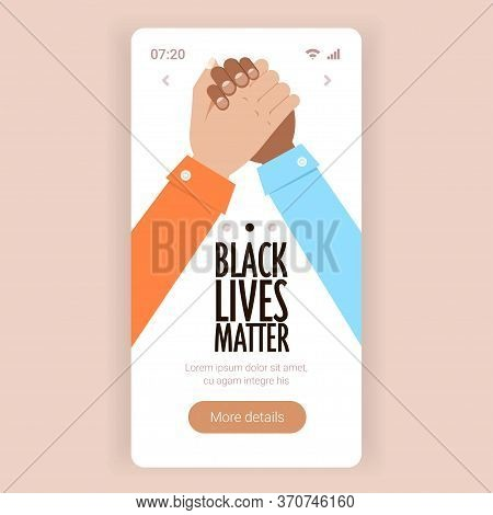 Black Lives Matter Multiracial Couple Holding Hand In Hand Campaign Against Racial Discrimination Of