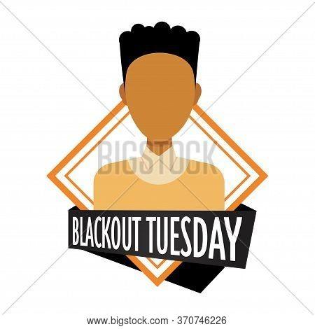 African American Man Against Racial Discrimination Black Lives Matter Blackout Tuesday Concept Socia