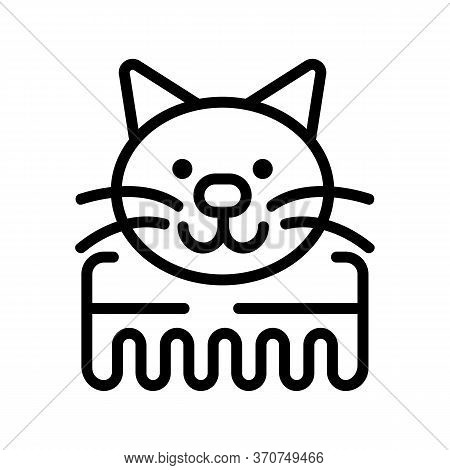 Cat Comb Icon Vector. Cat Comb Sign. Isolated Contour Symbol Illustration