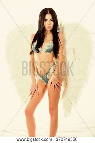 Femininity And Sensuality. Erotic Angel. Desirable And Tempting Lady. Impressive Purity. Delicate Se