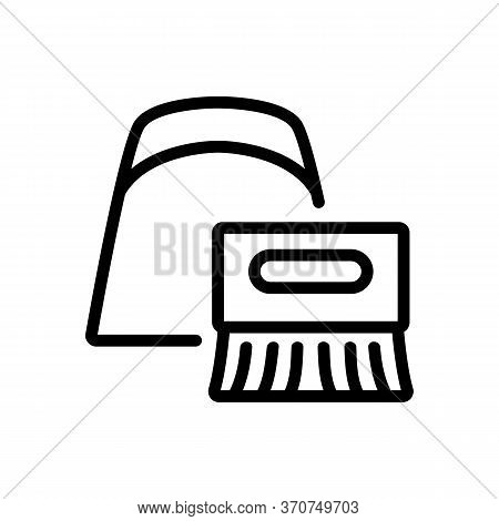Dustpan And Brush For Sweeping Icon Vector. Dustpan And Brush For Sweeping Sign. Isolated Contour Sy