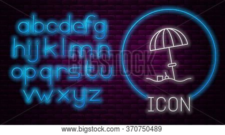 Glowing Neon Line Sun Protective Umbrella For Beach Icon Isolated On Brick Wall Background. Large Pa